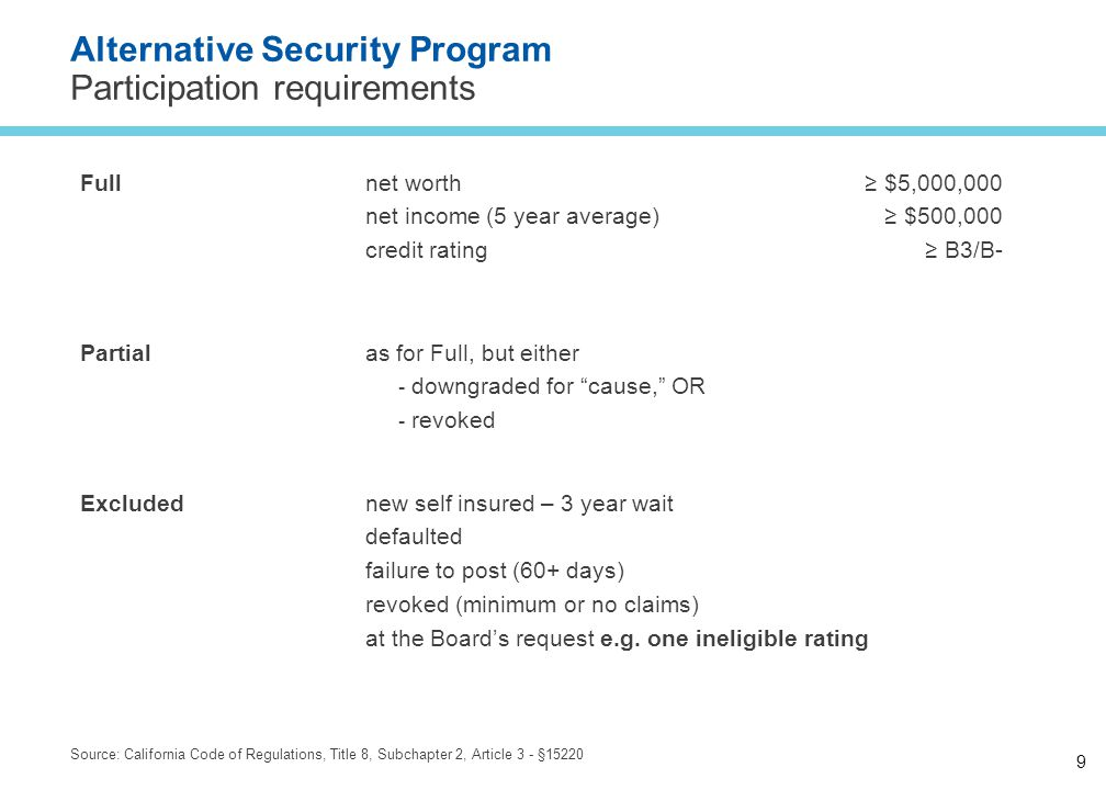 9 Alternative Security Program Participation requirements Source: California Code of Regulations, Title 8, Subchapter 2, Article 3 - §15220 Full net worth net income (5 year average) credit rating ≥ $5,000,000 ≥ $500,000 ≥ B3/B- Partial as for Full, but either ­ downgraded for cause, OR ­ revoked Excluded new self insured – 3 year wait defaulted failure to post (60+ days) revoked (minimum or no claims) at the Board's request e.g.
