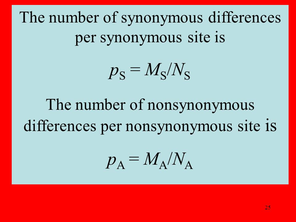 25 The number of synonymous differences per synonymous site is p S = M S /N S The number of nonsynonymous differences per nonsynonymous site is p A = M A /N A