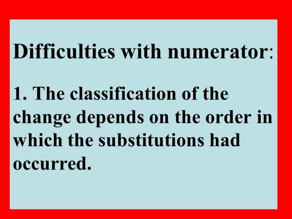 9 Difficulties with numerator: 1.
