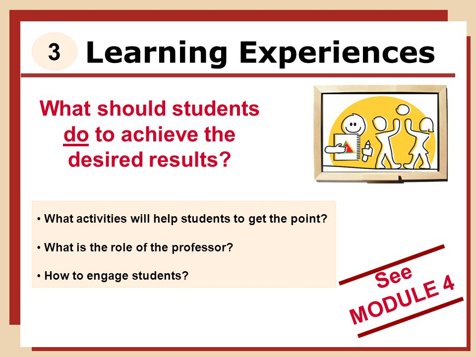 Learning Experiences What should students do to achieve the desired results.