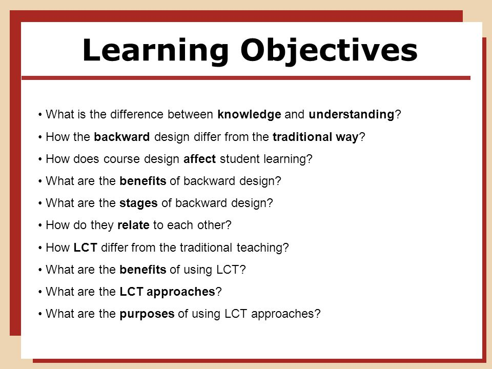 Learning Objectives What is the difference between knowledge and understanding.