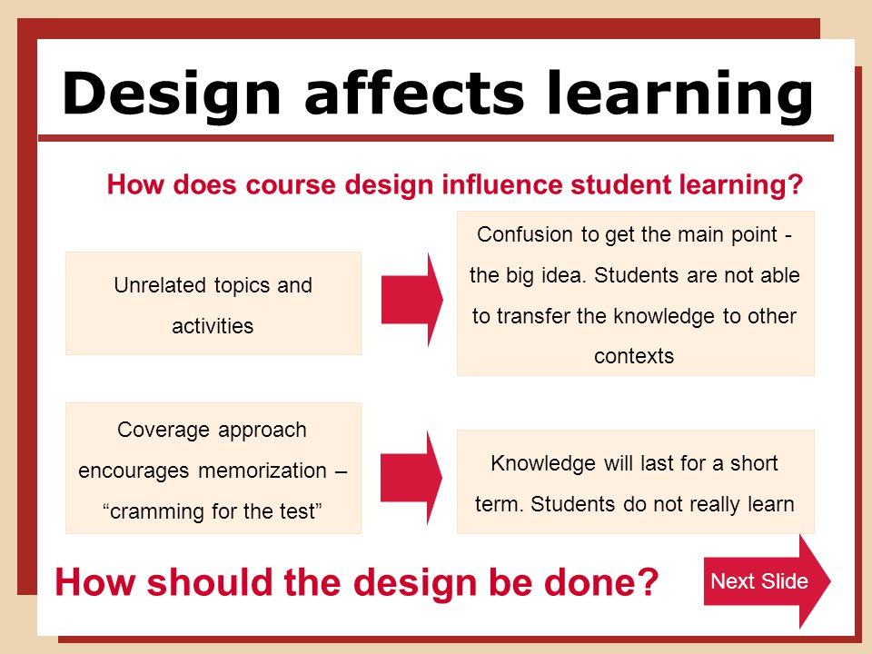 Design affects learning Unrelated topics and activities How does course design influence student learning.