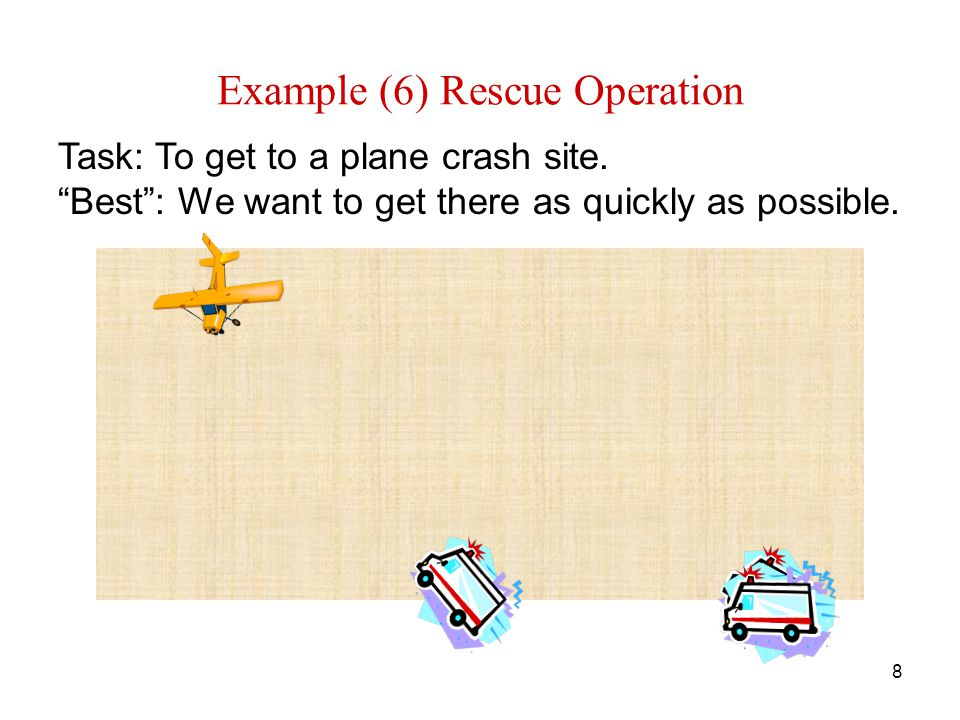 8 Example (6) Rescue Operation Task: To get to a plane crash site.