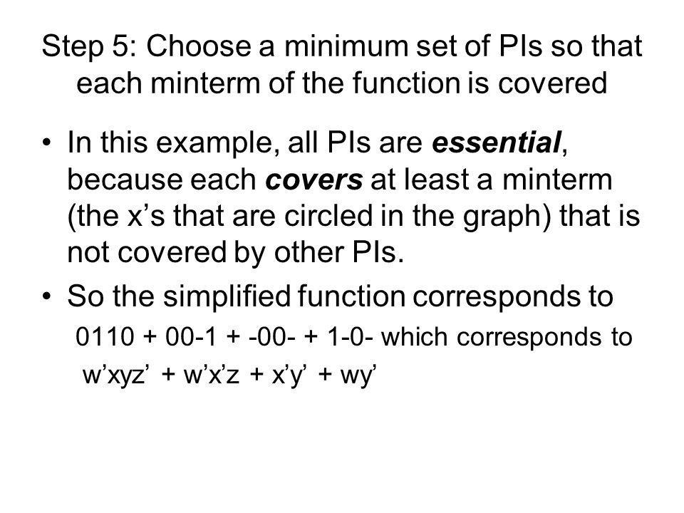 Step 5: Choose a minimum set of PIs so that each minterm of the function is covered In this example, all PIs are essential, because each covers at lea