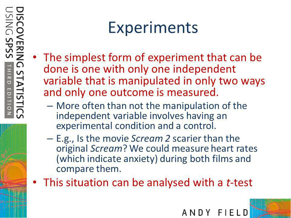 T-test Dependent t-test – Compares two means based on related data.