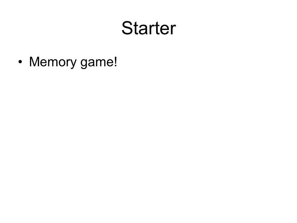 Starter Memory game!