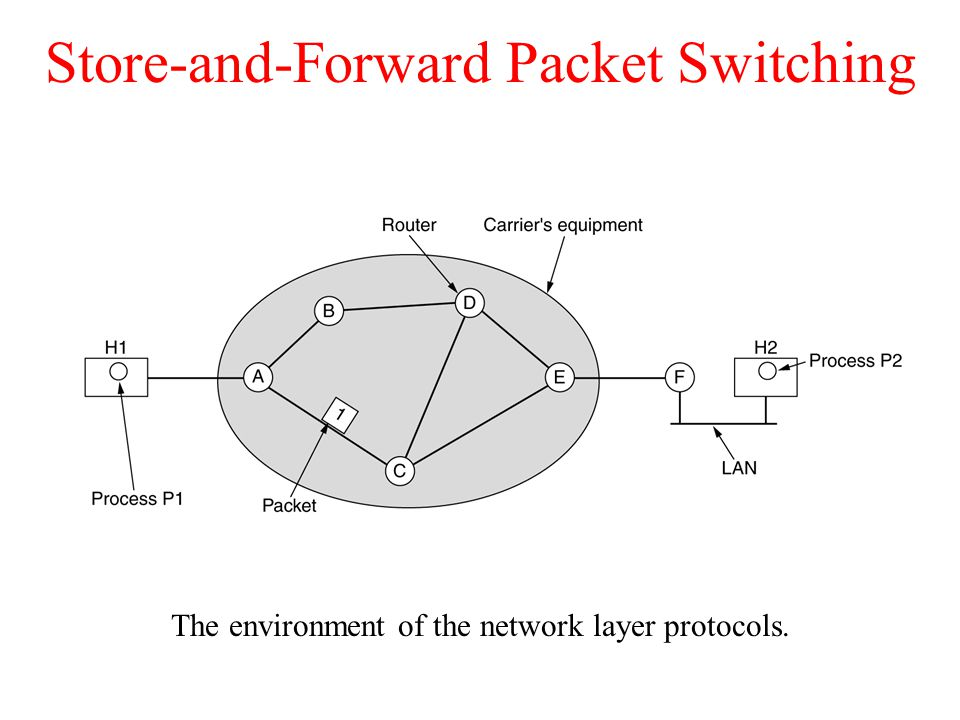 Store-and-Forward Packet Switching The environment of the network layer protocols. fig 5-1