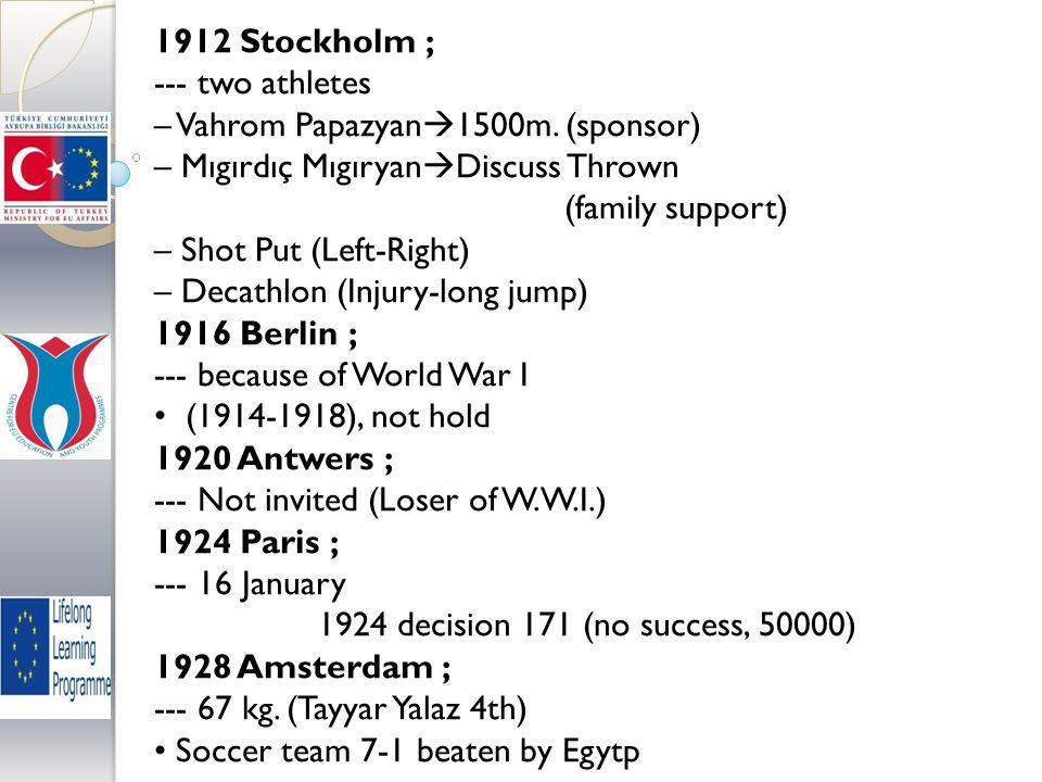 1912 Stockholm ; --- two athletes – Vahrom Papazyan  1500m.