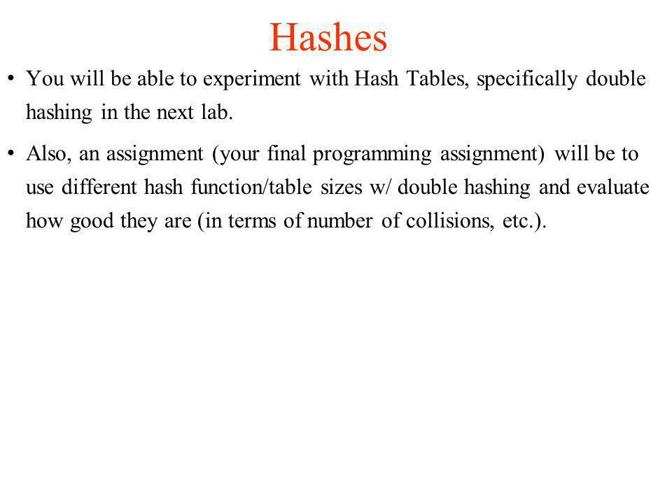 Double hashing is another open address hashing method.