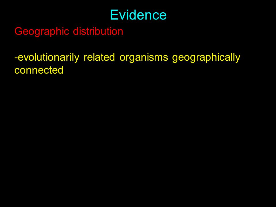 Evidence Geographic distribution -evolutionarily related organisms geographically connected