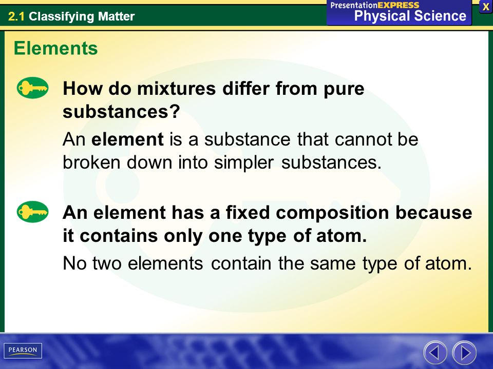 2.1 Classifying Matter Examples of Elements Some elements are solids at room temperature.