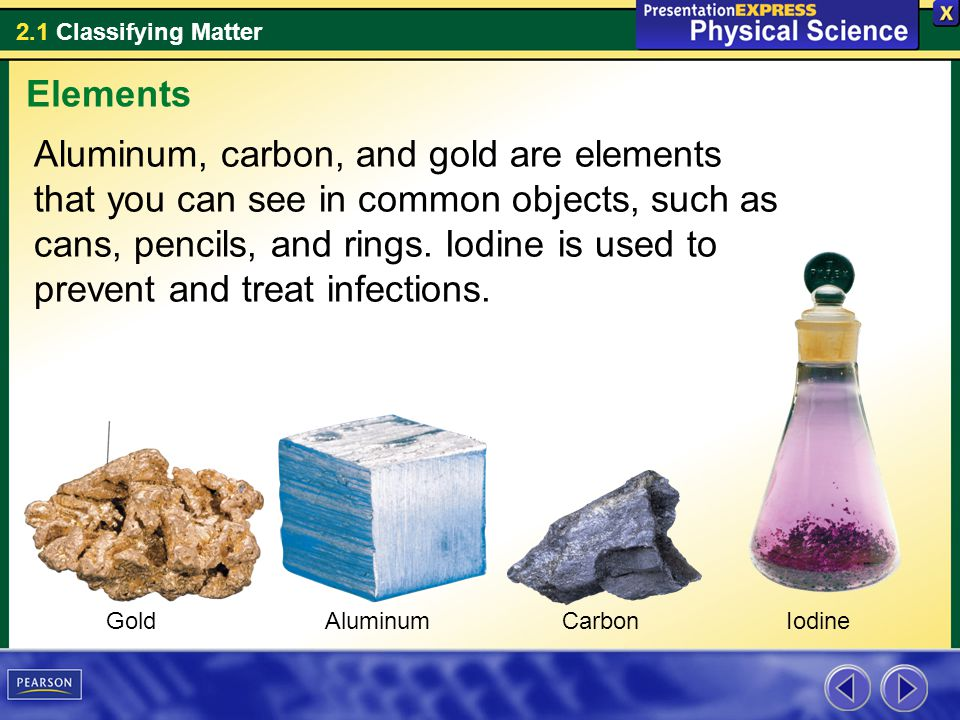 2.1 Classifying Matter Aluminum, carbon, and gold are elements that you can see in common objects, such as cans, pencils, and rings.