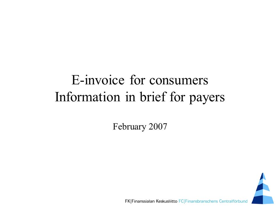 E-invoice for consumers Information in brief for payers February 2007