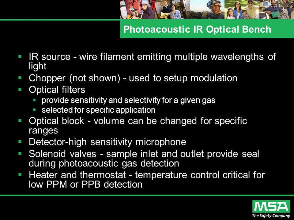 Photoacoustic IR Optical Bench  IR source - wire filament emitting multiple wavelengths of light  Chopper (not shown) - used to setup modulation  O