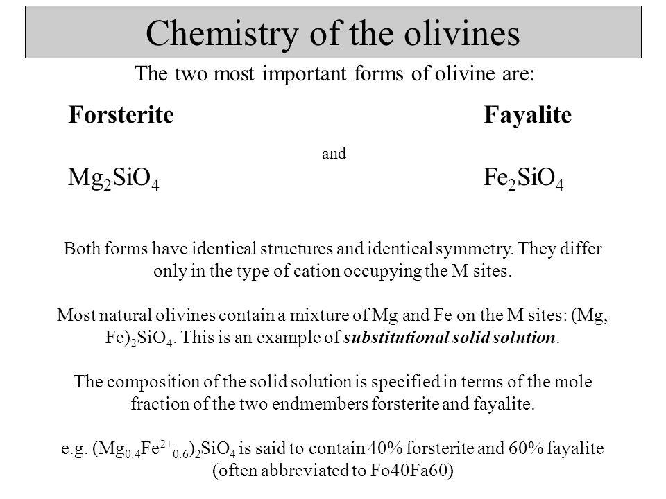 Substitutional solid solutions Specific sites in the structure (e.g.