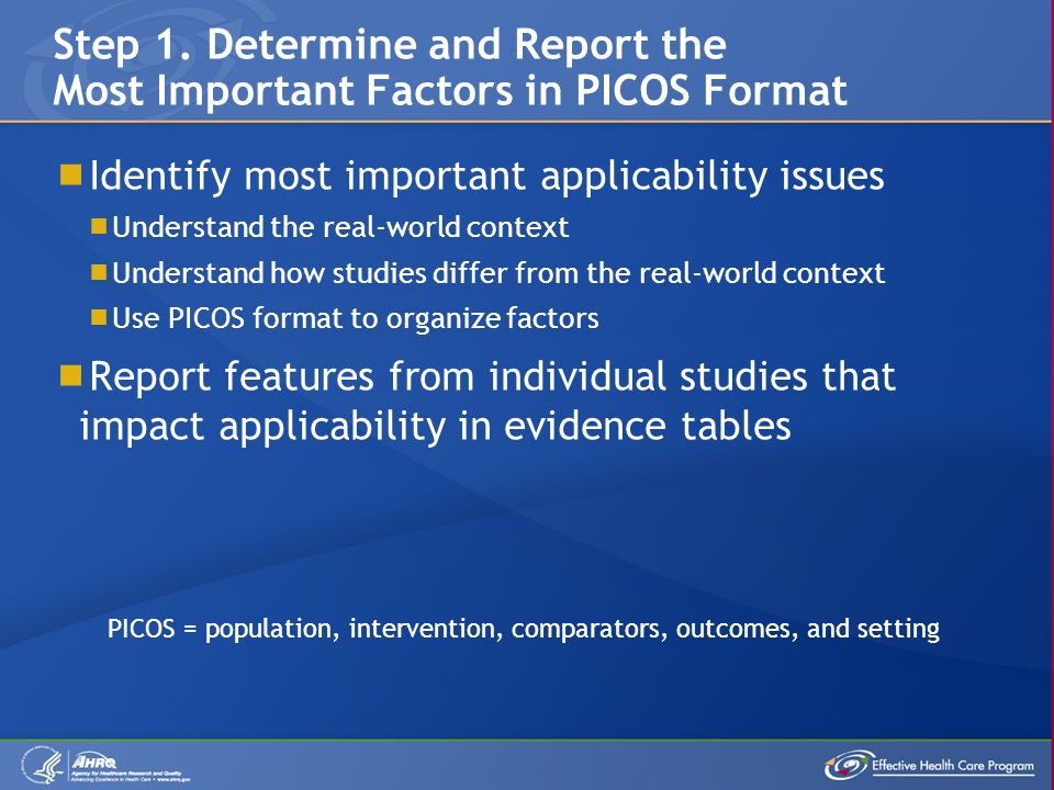  Identify most important applicability issues  Understand the real-world context  Understand how studies differ from the real-world context  Use PICOS format to organize factors  Report features from individual studies that impact applicability in evidence tables Step 1.