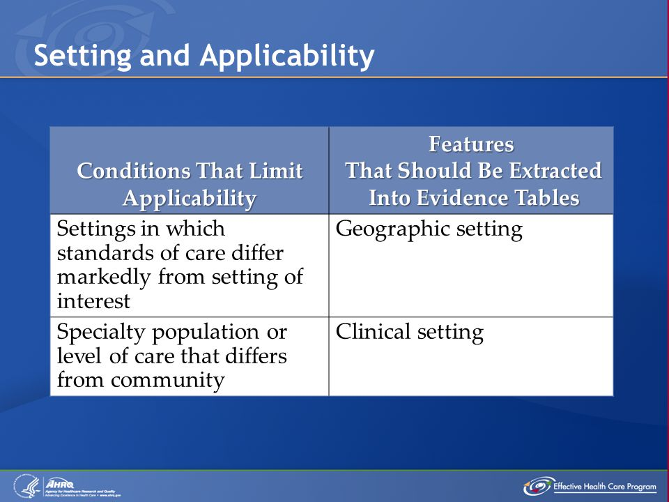 Setting and Applicability Conditions That Limit Applicability Features That Should Be Extracted That Should Be Extracted Into Evidence Tables Into Evidence Tables Settings in which standards of care differ markedly from setting of interest Geographic setting Specialty population or level of care that differs from community Clinical setting