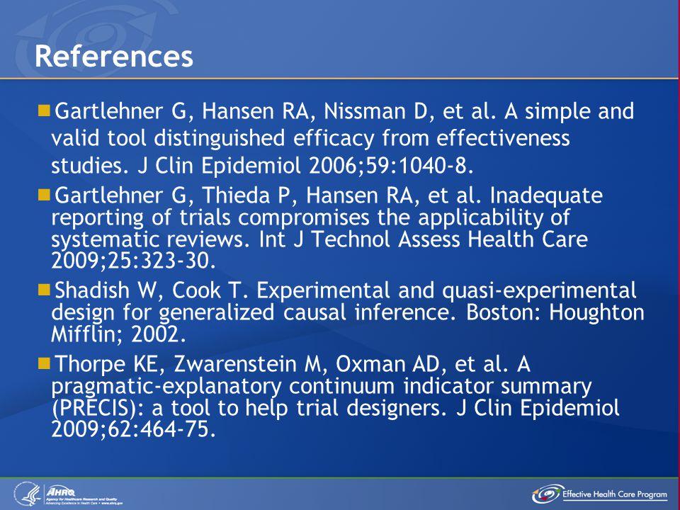  Gartlehner G, Hansen RA, Nissman D, et al. A simple and valid tool distinguished efficacy from effectiveness studies. J Clin Epidemiol 2006;59:1040-