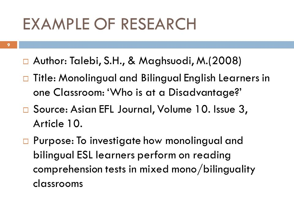 EXAMPLE OF RESEARCH (cont.)  Hypotheses: 1.