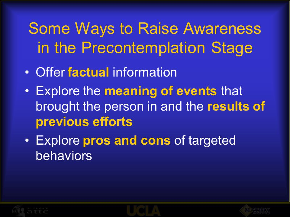 Some Ways to Raise Awareness in the Precontemplation Stage Offer factual information Explore the meaning of events that brought the person in and the