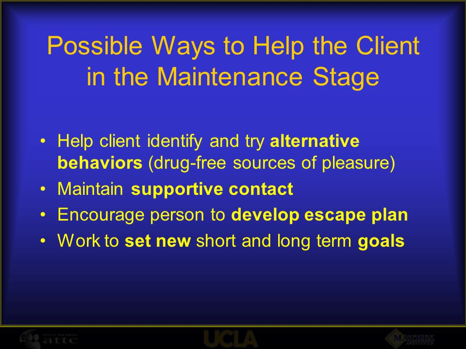 Possible Ways to Help the Client in the Maintenance Stage Help client identify and try alternative behaviors (drug-free sources of pleasure) Maintain supportive contact Encourage person to develop escape plan Work to set new short and long term goals