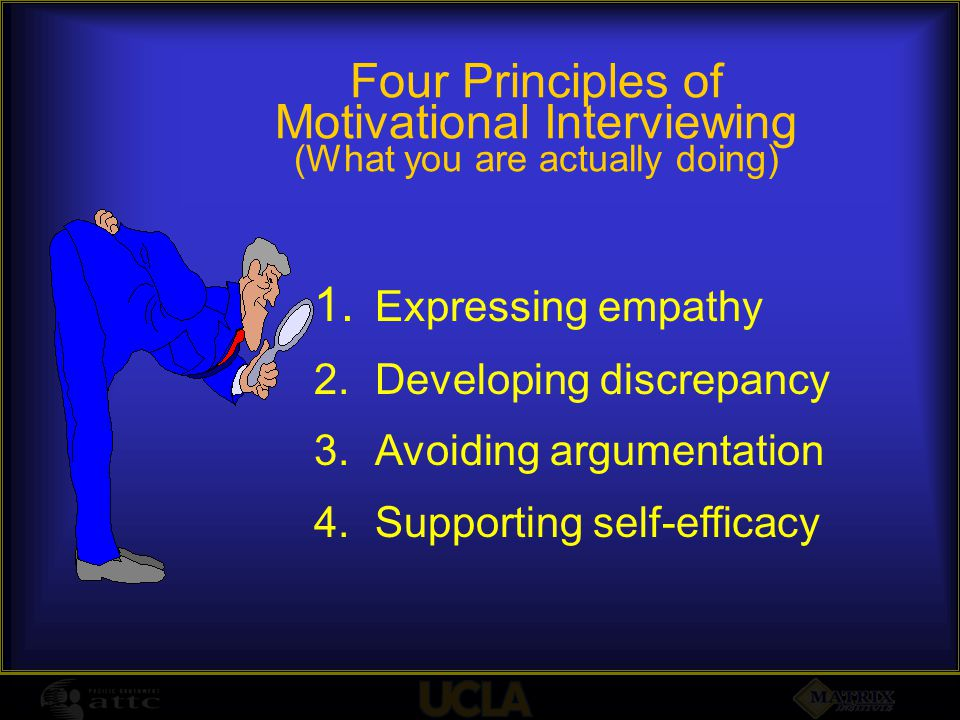 Four Principles of Motivational Interviewing (What you are actually doing) 1. Expressing empathy 2.Developing discrepancy 3.Avoiding argumentation 4.S
