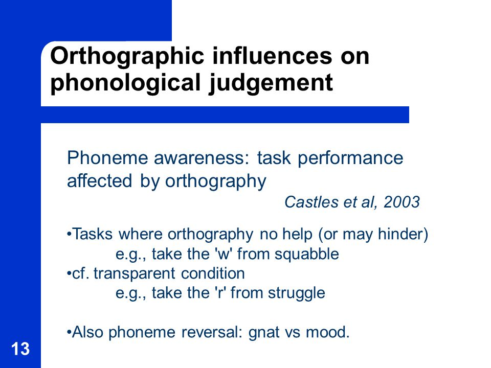 13 Orthographic influences on phonological judgement Phoneme awareness: task performance affected by orthography Castles et al, 2003 Tasks where orthography no help (or may hinder) e.g., take the w from squabble cf.