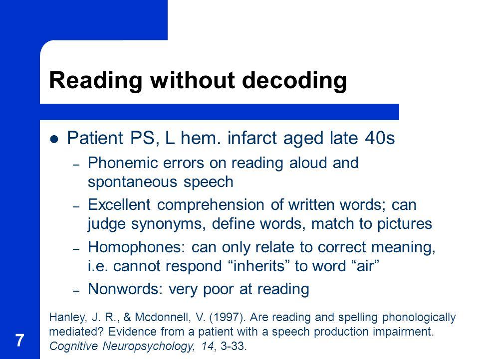 7 Reading without decoding Patient PS, L hem.