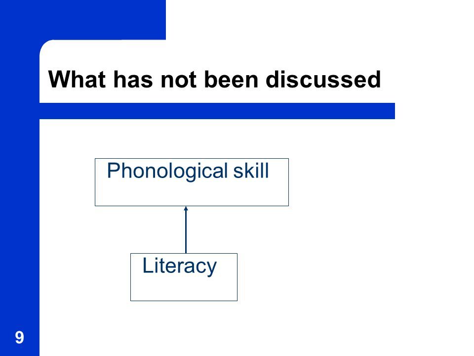 9 What has not been discussed Phonological skill Literacy