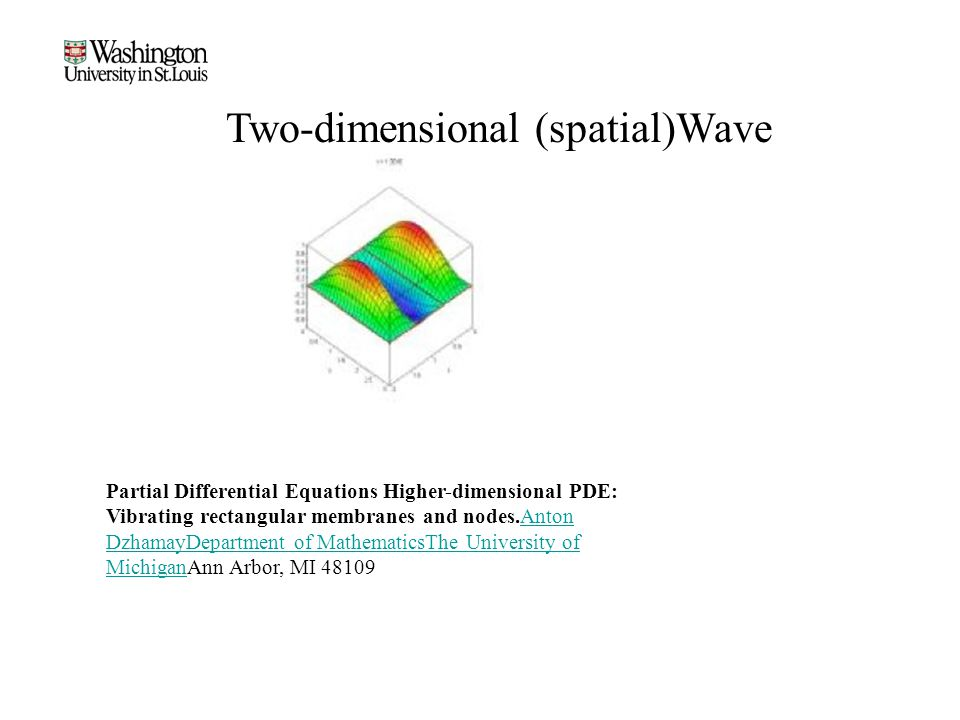 Two-dimensional (spatial)Wave Partial Differential Equations Higher-dimensional PDE: Vibrating rectangular membranes and nodes.Anton DzhamayDepartment