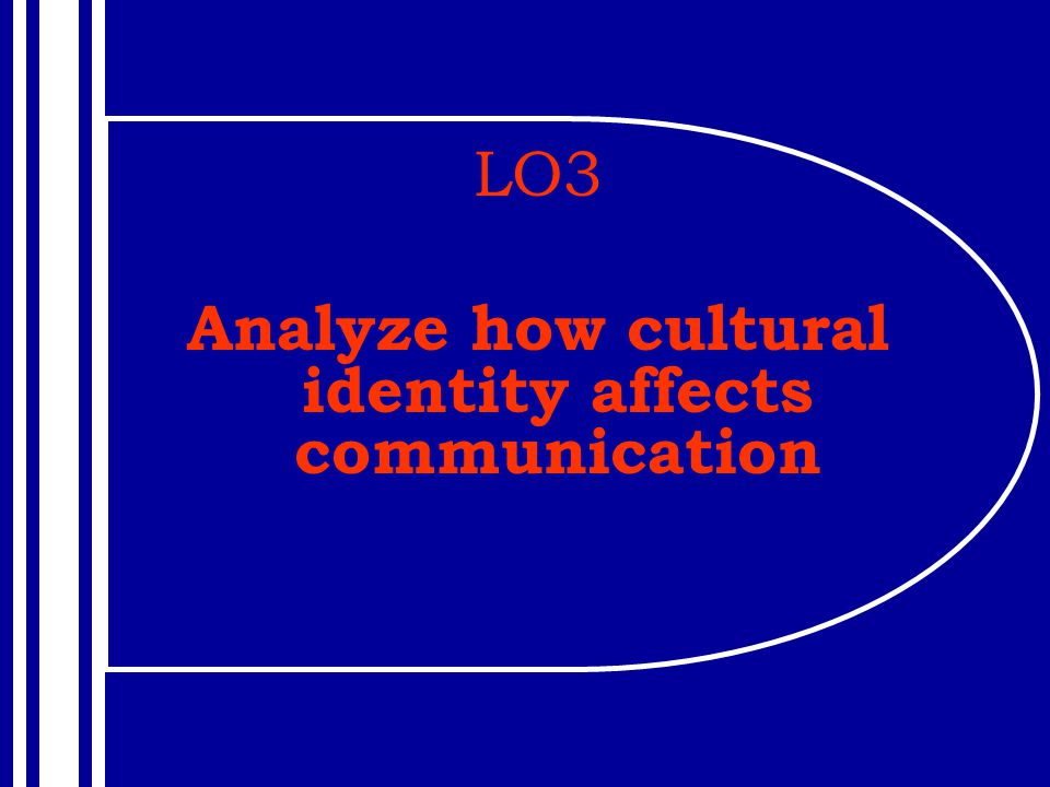 LO3 Analyze how cultural identity affects communication