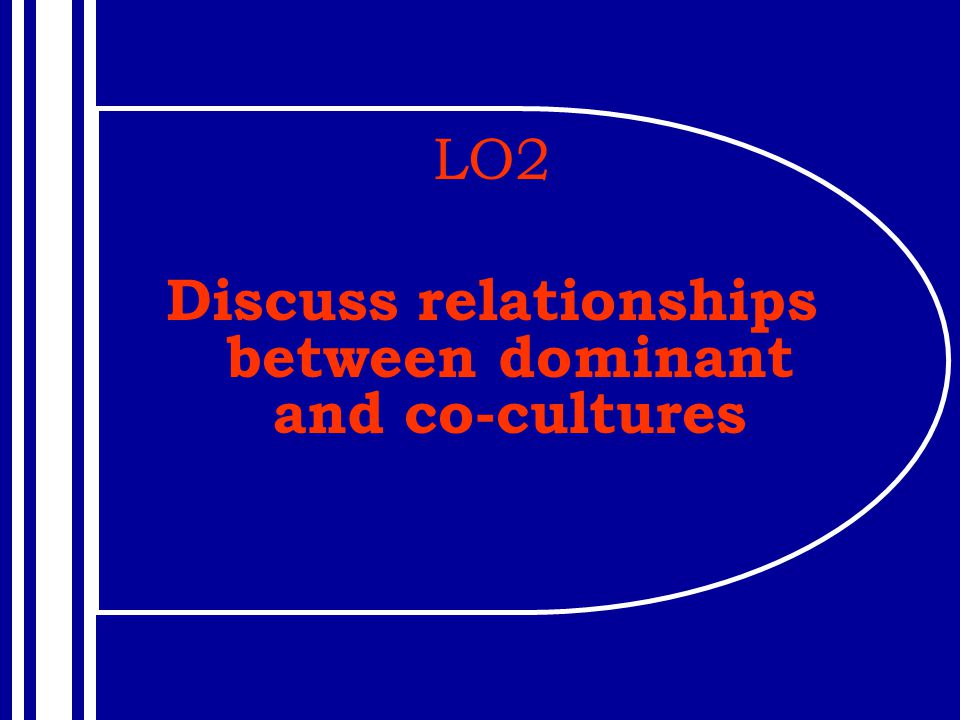 LO2 Discuss relationships between dominant and co-cultures