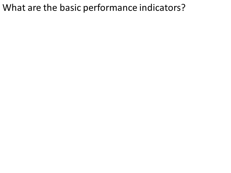 What are the basic performance indicators?