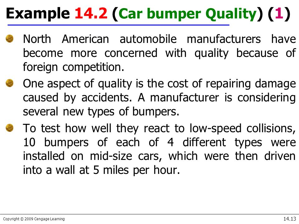 Copyright © 2009 Cengage Learning 14.13 Example 14.2 ( Car bumper Quality ) (1) North American automobile manufacturers have become more concerned wit