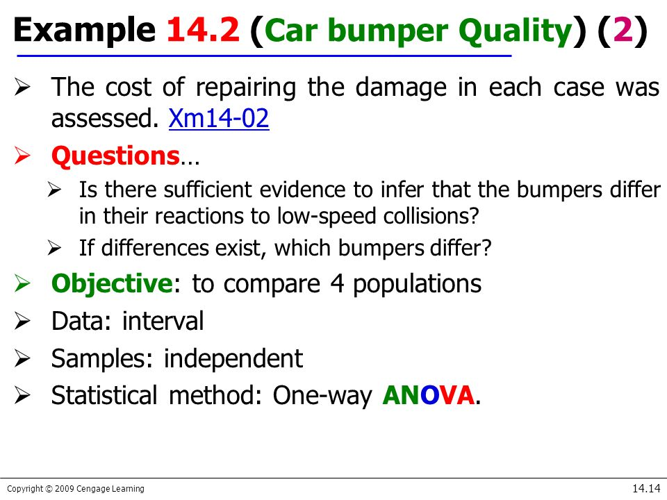 Copyright © 2009 Cengage Learning 14.14  The cost of repairing the damage in each case was assessed. Xm14-02Xm14-02  Questions…  Is there sufficien