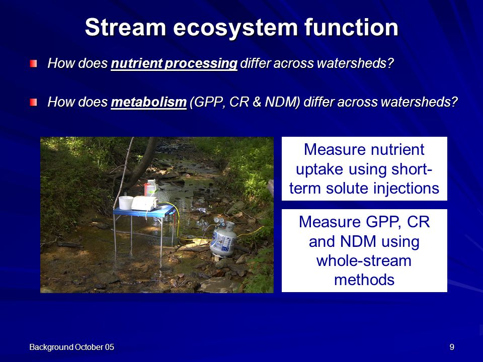 Background October 059 Stream ecosystem function How does nutrient processing differ across watersheds.