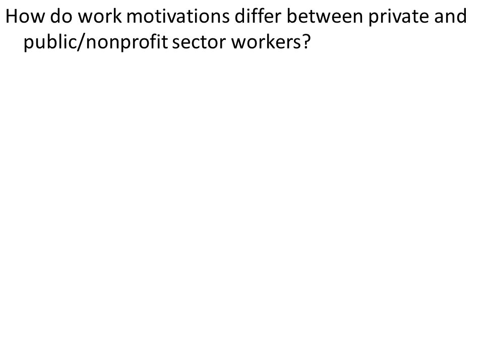 How do work motivations differ between private and public/nonprofit sector workers