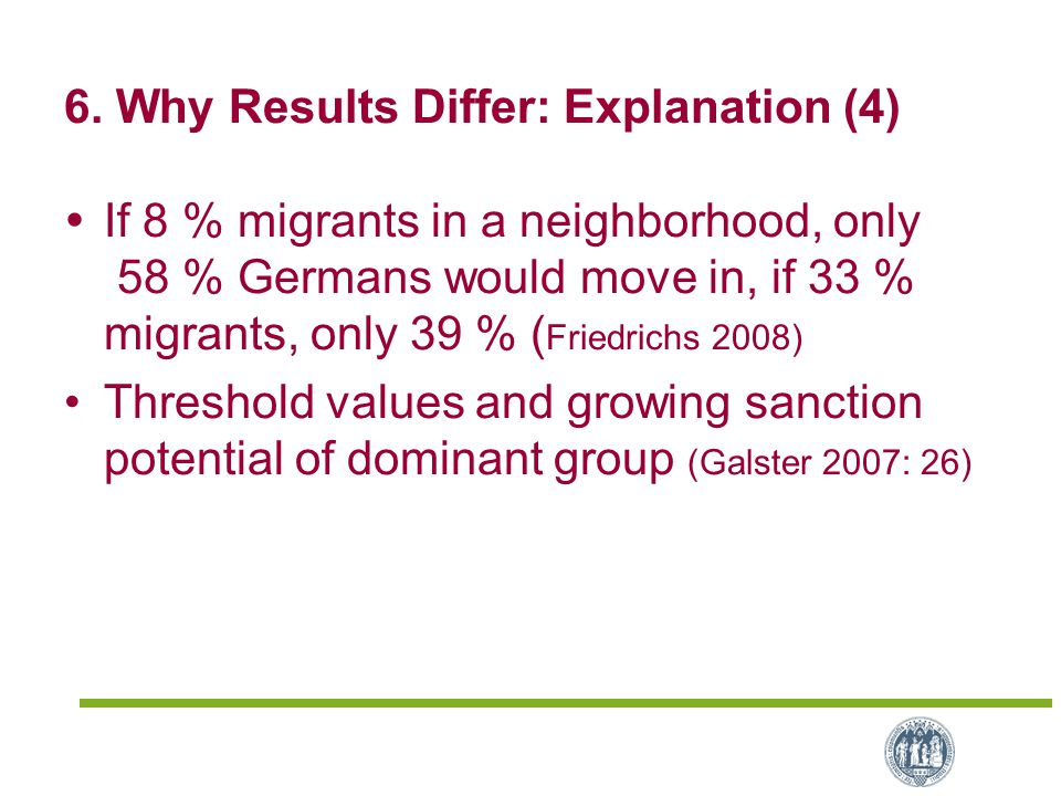 6. Why Results Differ: Explanation (4)  If 8 % migrants in a neighborhood, only 58 % Germans would move in, if 33 % migrants, only 39 % ( Friedrichs