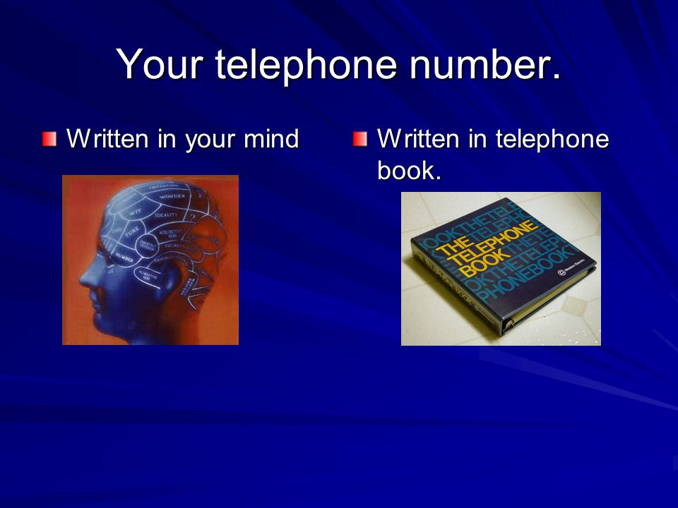 Your telephone number. Written in your mind Written in telephone book.