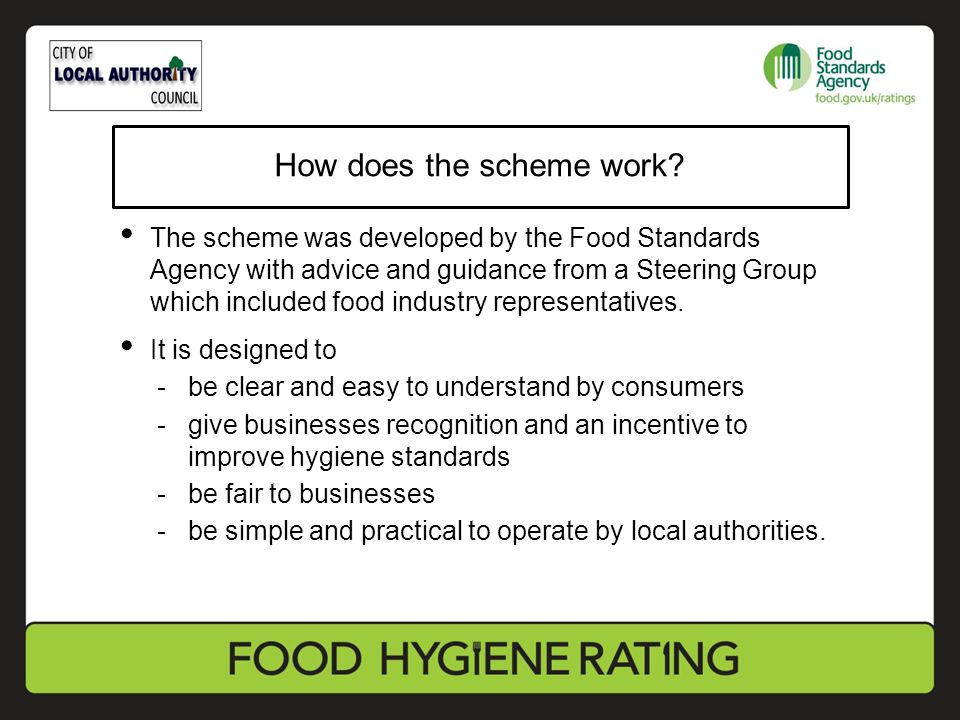 The scheme was developed by the Food Standards Agency with advice and guidance from a Steering Group which included food industry representatives.