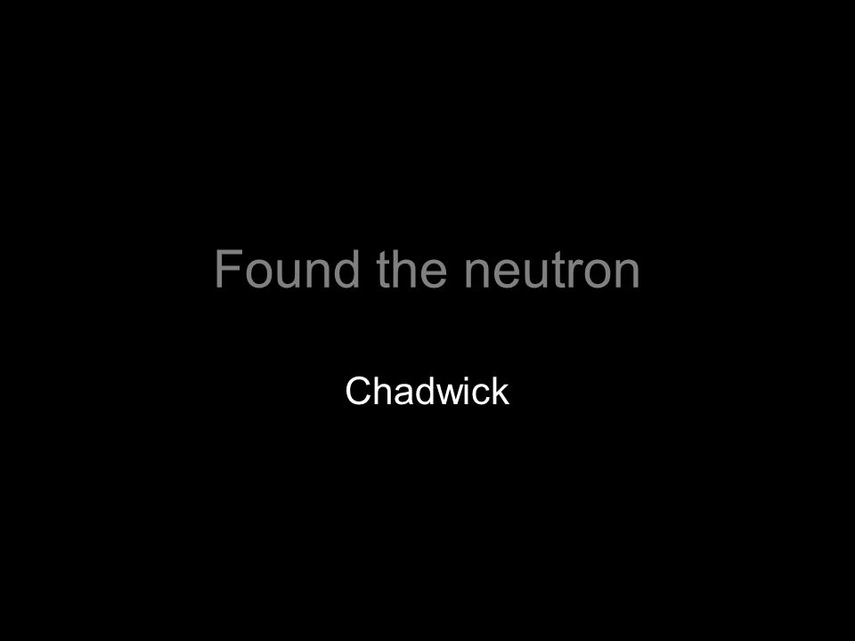 Found the neutron Chadwick