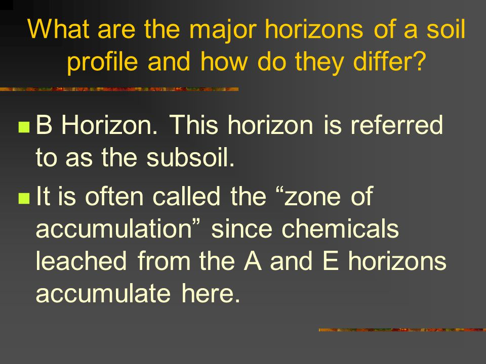 "What are the major horizons of a soil profile and how do they differ? B Horizon. This horizon is referred to as the subsoil. It is often called the ""z"