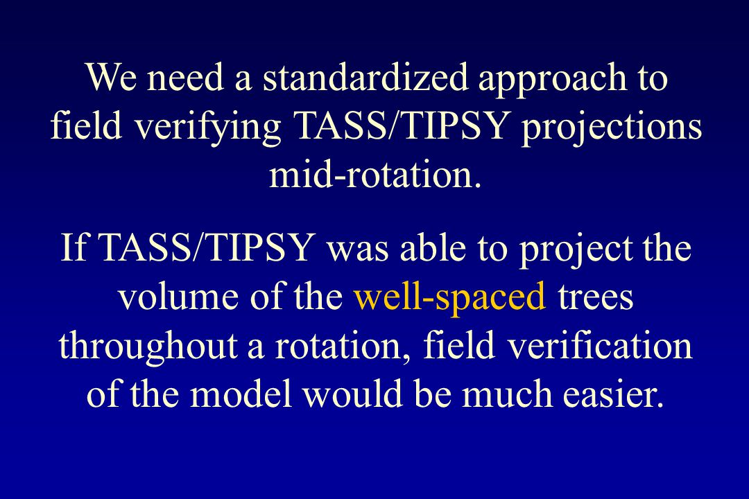 We need a standardized approach to field verifying TASS/TIPSY projections mid-rotation. If TASS/TIPSY was able to project the volume of the well-space