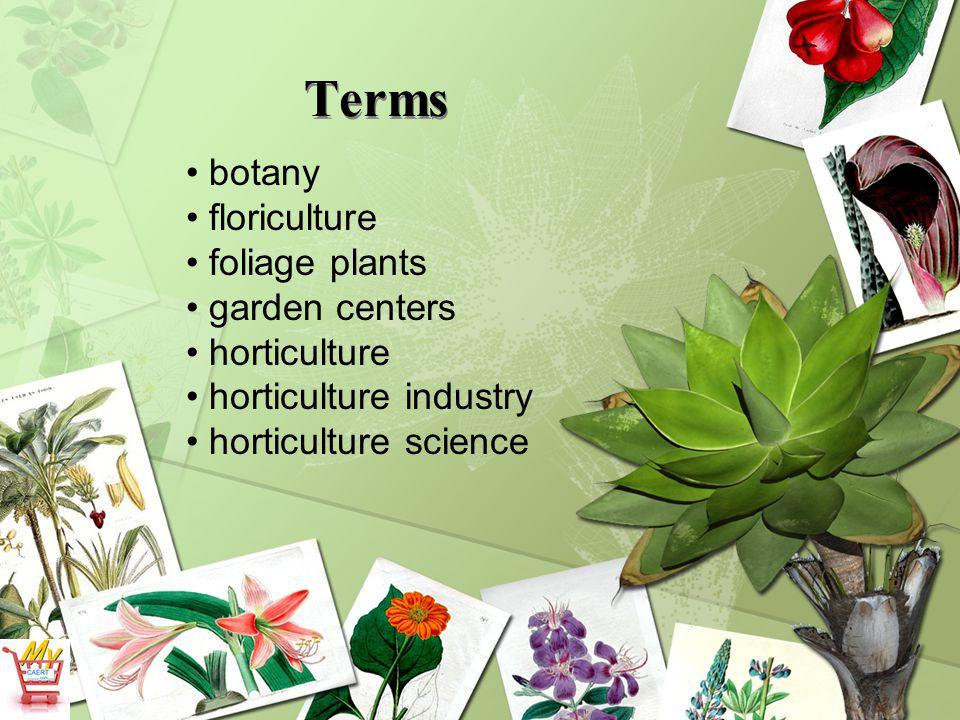Terms horticulture technology landscape horticulture nursery olericulture ornamental horticulture pomology