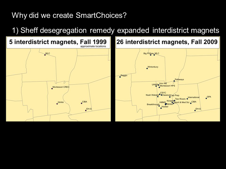 Why did we create SmartChoices 1) Sheff desegregation remedy expanded interdistrict magnets