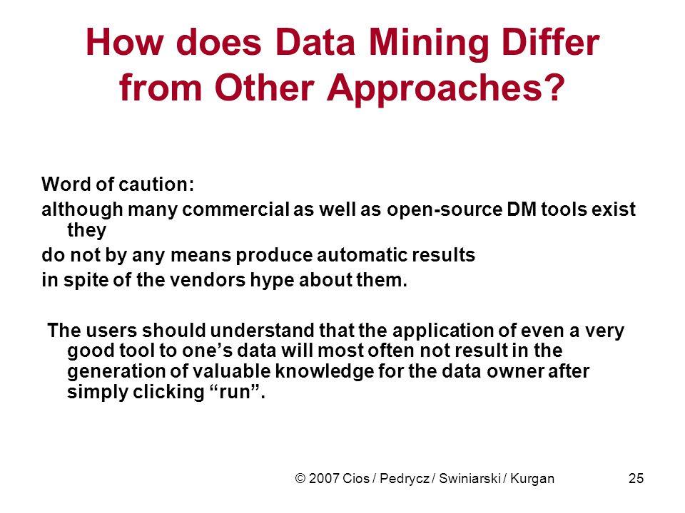 © 2007 Cios / Pedrycz / Swiniarski / Kurgan25 How does Data Mining Differ from Other Approaches.