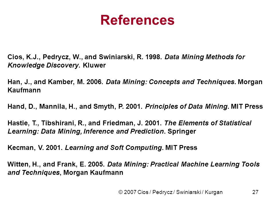 © 2007 Cios / Pedrycz / Swiniarski / Kurgan27 References Cios, K.J., Pedrycz, W., and Swiniarski, R. 1998. Data Mining Methods for Knowledge Discovery