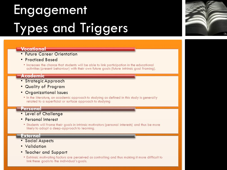 Engagement Types and Triggers Future Career Orientation Practiced Based Increases the chance that students will be able to link participation in the educational activities (present behaviour) with their own future goals (future intrinsic goal framing).