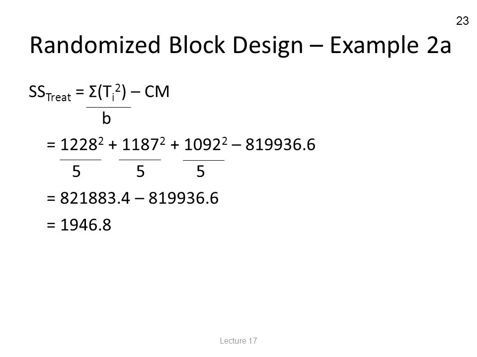 23 Randomized Block Design – Example 2a SS Treat = Σ(T i 2 ) – CM b = 1228 2 + 1187 2 + 1092 2 – 819936.6 5 5 5 = 821883.4 – 819936.6 = 1946.8 Lecture 17