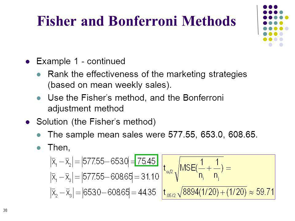 39 Solution (the Bonferroni adjustment) We calculate C=k(k-1)/2 to be 3(2)/2 = 3.
